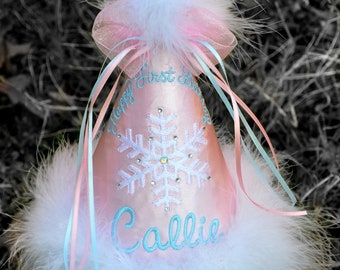 """Boy or Girl, Snowflake WINTER """"ONE"""" DERLAND  First Birthday Hat, You Choose Colors,by Gingham Bunny"""