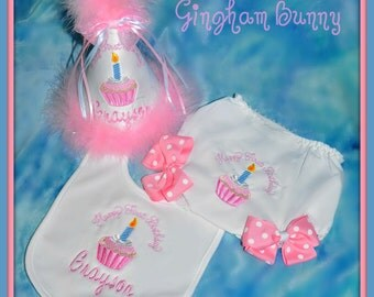 Cupcake Birthday Hat, Bib, and Ribbon Bloomers by Gingham Bunny