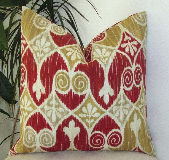 "Indoor/Outdoor Ikat in Burgundy Red/Ivory - Pillow Cover-Designer Pillow Case 18"""