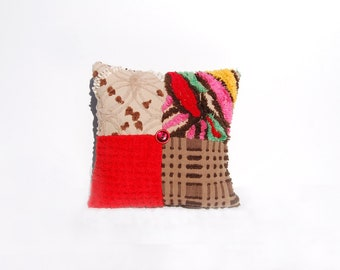 Chenille Pillow - Red Brown Vintage Chenille Handmade Charm Pillow