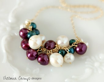 Teal Plum White Pearl Bauble Necklace, Gold Chain, Freshwater Pearl, Purple, Cluster, Pearl Necklace, Gift for Her, Wedding