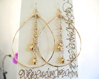 Gold Pyrite Chain Hoops