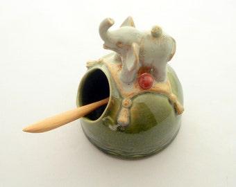 Ceramic salt cellar with elephant and bird Made to order