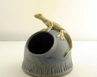 Gecko lizard on Blue salt cellar Made to order