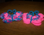 Crocheted Butterfly Refrigerator Magnets - Very Pretty - Unique -  Gift