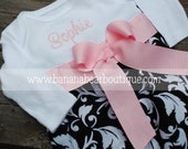 Black Damask Layette Gown  with Pink Ribbon