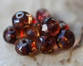 SANGRIA BABIES ..10 Picasso Czech Glass Rondelle Beads 6x4mm (2551-10)