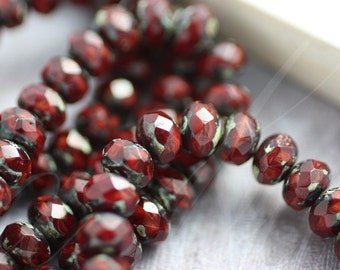 VAMP No. 2 .. 10 Picasso Czech Rondelle Beads 6x9mm (2816-10)