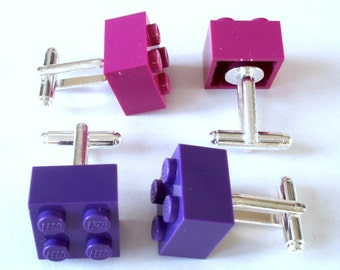 Purple Cufflinks, Handmade with LEGO(r) Bricks, Wedding Cufflinks, Novelty Cufflinks, Silver Plated Cufflinks - Handmade using Bricks