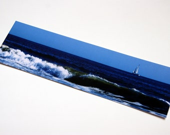 SALE - Ocean Wave with Sailboat Photo Bookmark