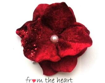 Valentine Red, Christmas Red Child Flower Hair Clip
