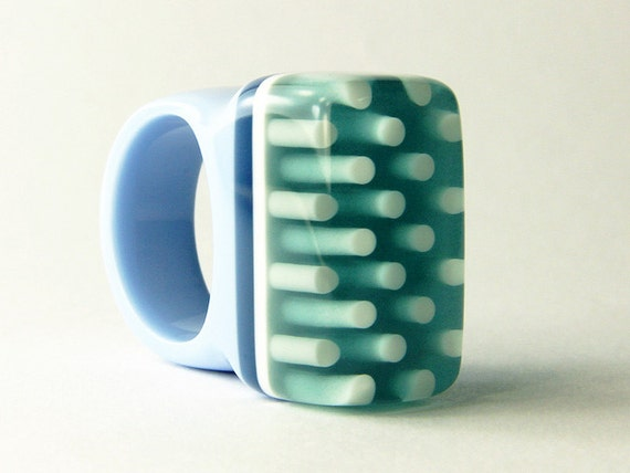 resin ring jewellery - ' Icicle ' - statement oversize ring - teal and light blue bold polka dot handmade plastic ring