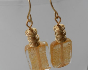 Dangles - Earrings - Glass Wrapped Gold Foil