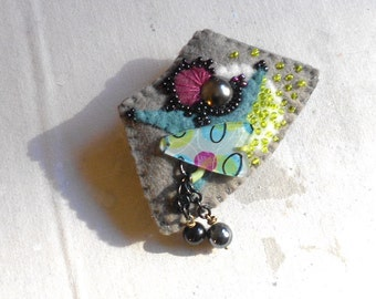 Felt Art Pin - Fan - Arc   - Dark Taupe, Black, Aqua, Lime Green, Oxblood -  Arrows and Circles - Beaded