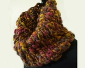 Chunky Knit Cowl / Fall Colors Cowl / Hand Knit Cowl / His & Hers Cowl Set / Brown Russet Gold Cowl
