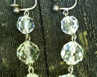 Vintage 925 sterling crystal drop EARRINGS