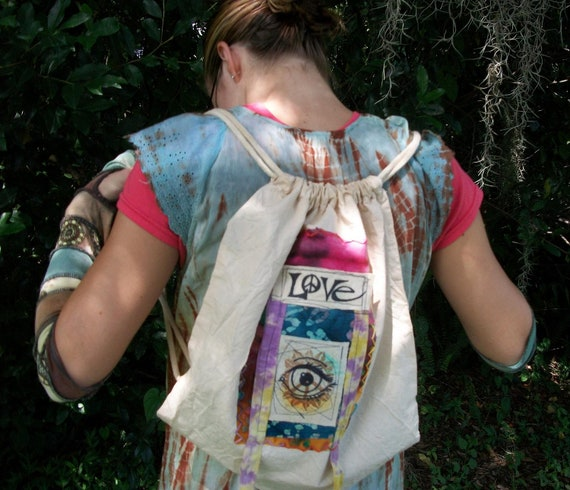 Hippie Festival Bag , Peace , Love, and an All Seeing Eye Backpack