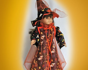 Doll Witch Costume for 18 inch Doll, American Girl Doll Costume, Fantasy Doll Costume, AG Witch Costume, Halloween costume