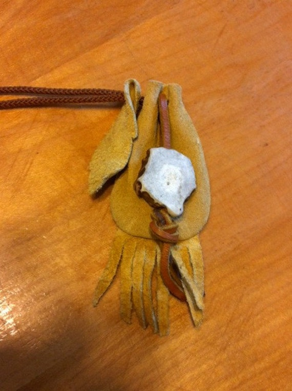 Native American Style Medicine Bag with Whitetail Deer Antler Piece