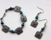 Turquoise and Silver Bracelet and Earring Set