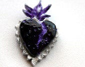 """Large Polymer Clay Statement Pendant """"Inner Fire Blackened Purple Heart"""""""