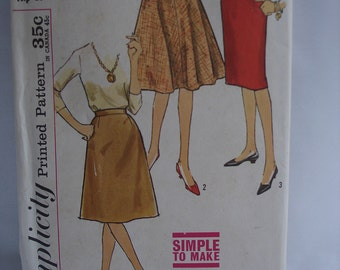 Vintage Simplicity Pattern 4601 Juniors Skirt 1970's Flared Skirt Pattern Slim Skirt Pattern Ladies Clothing Pattern Sewing Pattern