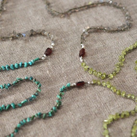 Long crocheted jewelry gemstone strand necklace in greens: Outdoor Room