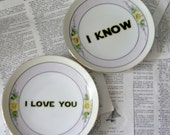 Meito Yellow flower I love you I know Altered Vintage Plate Set