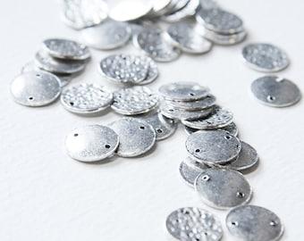 40pcs Oxidized Silver Tone Base Metal Link - Flat Coin 12mm (5044Y-J-123)