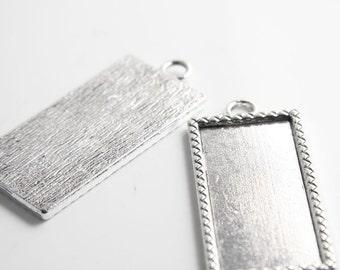 2pcs Oxidized Silver Tone Base Metal Cameo Settings-57x25mm (12862Y-P-126)