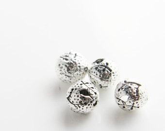 4pcs Oxidized Silver Tone Base Metal Spacer - Ball - Bird 10mm (7628Z-P-180)
