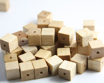 20pcs Wood Beads - Square - Cube - Natural 10mm