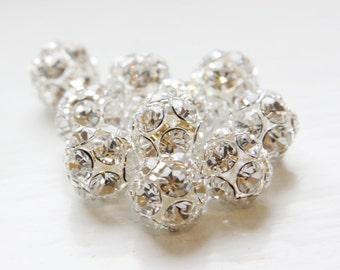 4pcs Czech Silver Tone Base Metal  Rhinestone Balls - Crystal 12mm (1016)