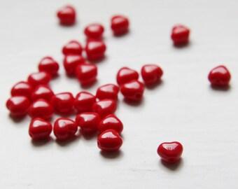 100pcs Czech Glass Bead - Heart - Red 6mm (PG1420202)