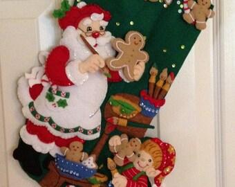 Bucilla Christmas Cookies Felt Stocking