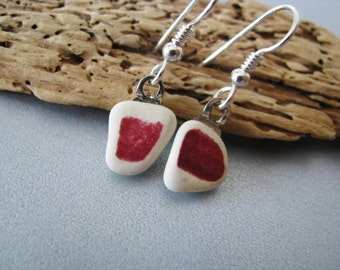 Red Ceramic Earrings  - Beach Ceramic Dangle Earrings - Ceramic Jewelry