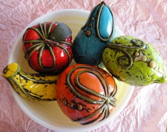 SALE!!  5 Vintage Fitz and Floyd faux fruit, paper mache, 1970s bright, colorful, kitschy