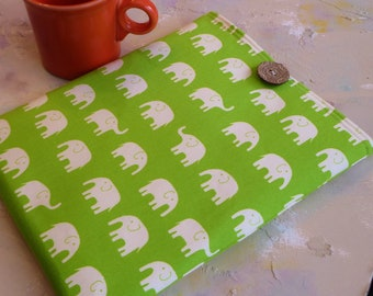 Padded iPad Case,  Ipad Cover, Ipad Sleeve, Ipad 3 Case, Ipad 3 sleeve, ipad mini tablet case holder in Green Elephants