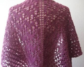 Knitting Pattern PDF / Damson One Skein Shawl