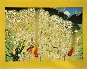 ARTWORK. Cherry Blossoms. Recycled / Upcycled Art using a 1937 Japanese Print.
