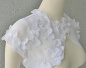 Wedding Bolero Shrug White Chiffon Embellished With Hand Sewn Flowers and Beads