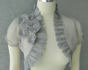 Wedding Bolero Shrug Gray Chiffon  With Flowers and Rhinestone and  Lace Trim
