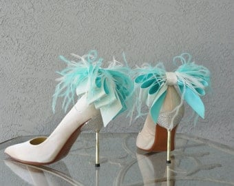 Bridal Formal  Shoe Clips Aqua Blue And White/Ivory  Satin Ribbon Bow And Feather