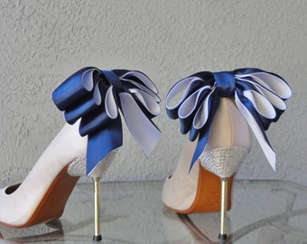 Bridal Party Wedding Navy Blue And White Satin Ribbon Bow  Shoe Clips Set Of Two More Colors Available