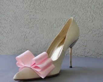 Pink Satin Ribbon Bow Shoe Clips Set Of Two, More Colors Available