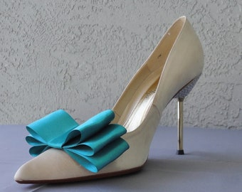 Teal Satin Ribbon Bow Shoe Clips Set Of Two, More Colors Available