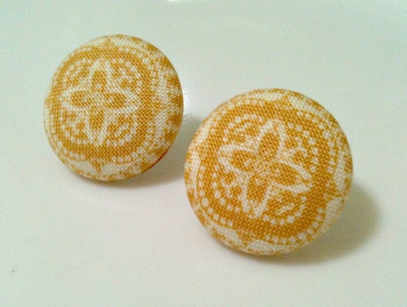 mustard pinwheel - fabric button earrings