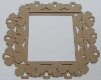 COUNTRY SCALLOPED FRAME  - Bare Chipboard Die Cuts - Eyelet Frame - Craft Diecuts