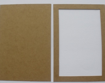 """4"""" x 6""""  PICTURE FRAME Chipboard Die Cuts -  Bare Rectangle Photo Frame w/ Mat Backing"""