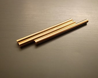 12 pieces of cut raw brass straight tube with new plating  in gold tone 2 x30mm long thin
